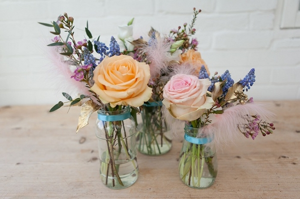 Jars of wedding flowers