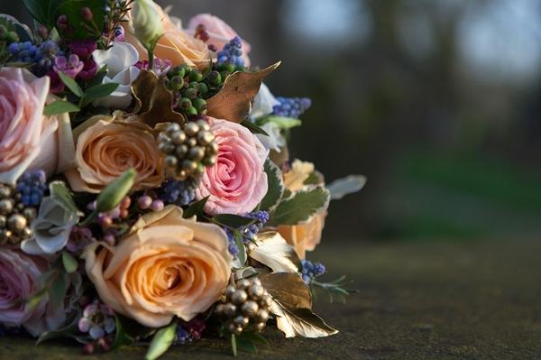 Pastel colour bridal bouquet