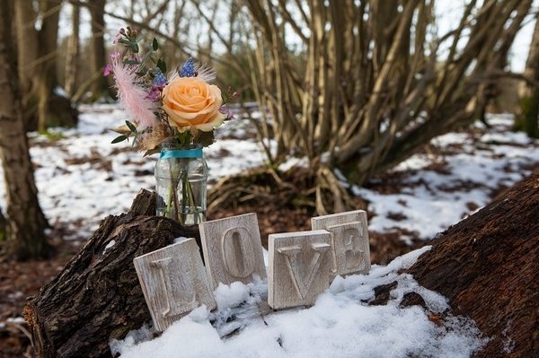 Love letters and wedding flowers