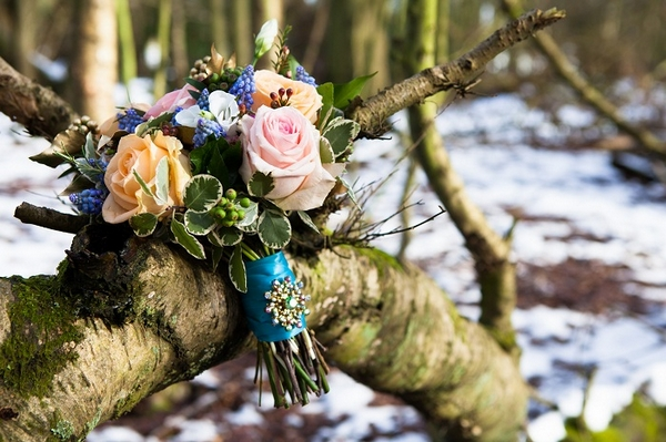 Bridal bouquet on tree