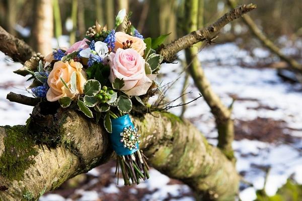 Bridal bouquet on tree