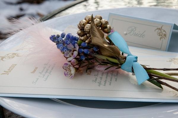 Wedding menu with berry arrangement