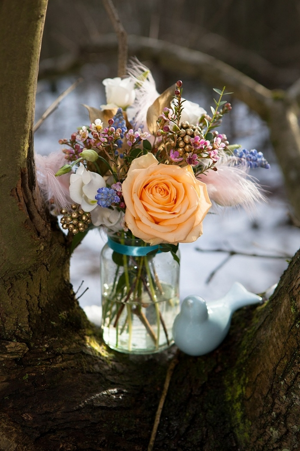 Jar of wedding flowers