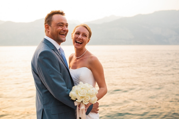 Bride and groom by sea