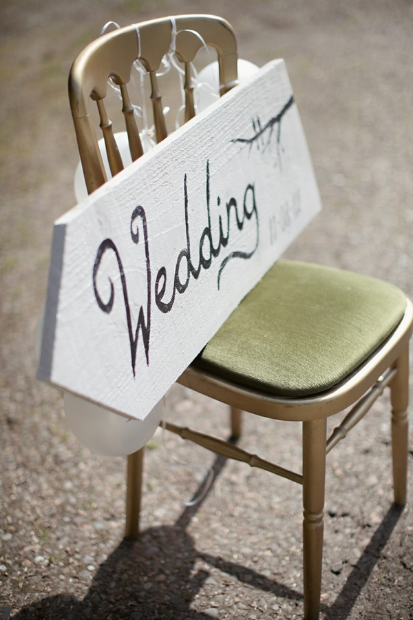 Wedding sign on chair