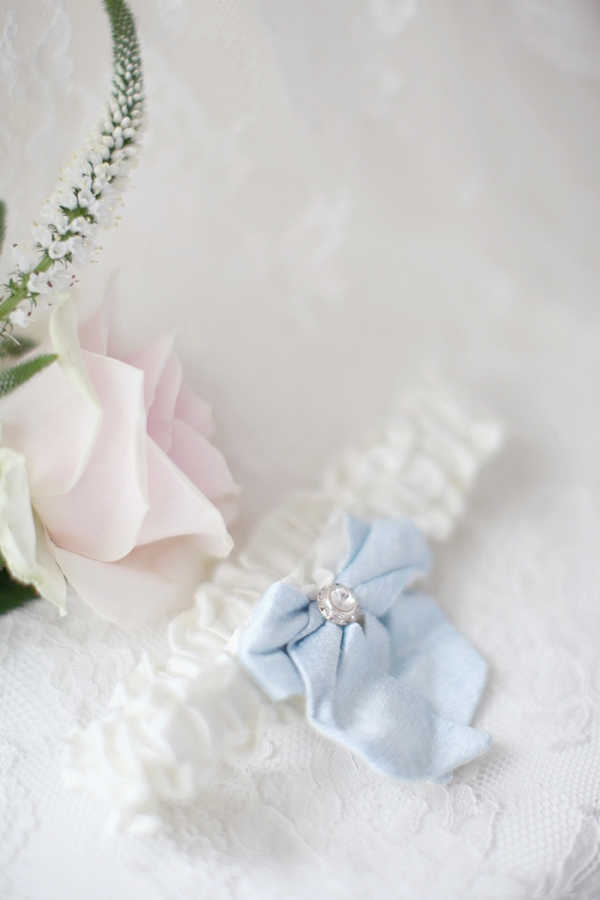 Wedding garter with blue bow