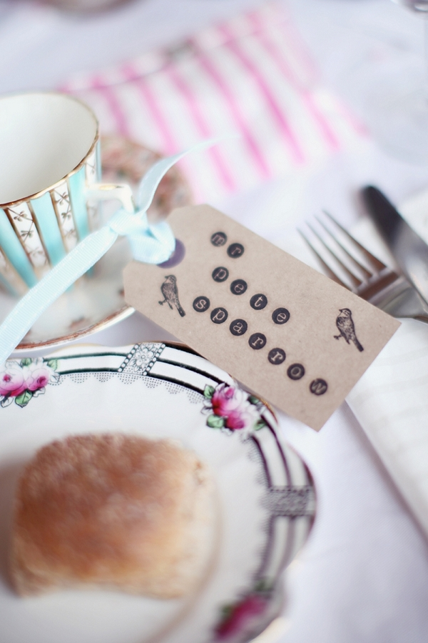 Luggage tag wedding place setting
