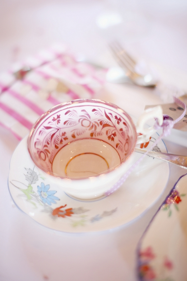 Vintage teacup on wedding table
