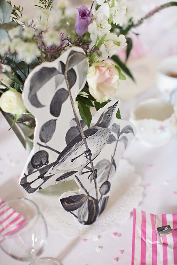 Bird wedding table centrepiece