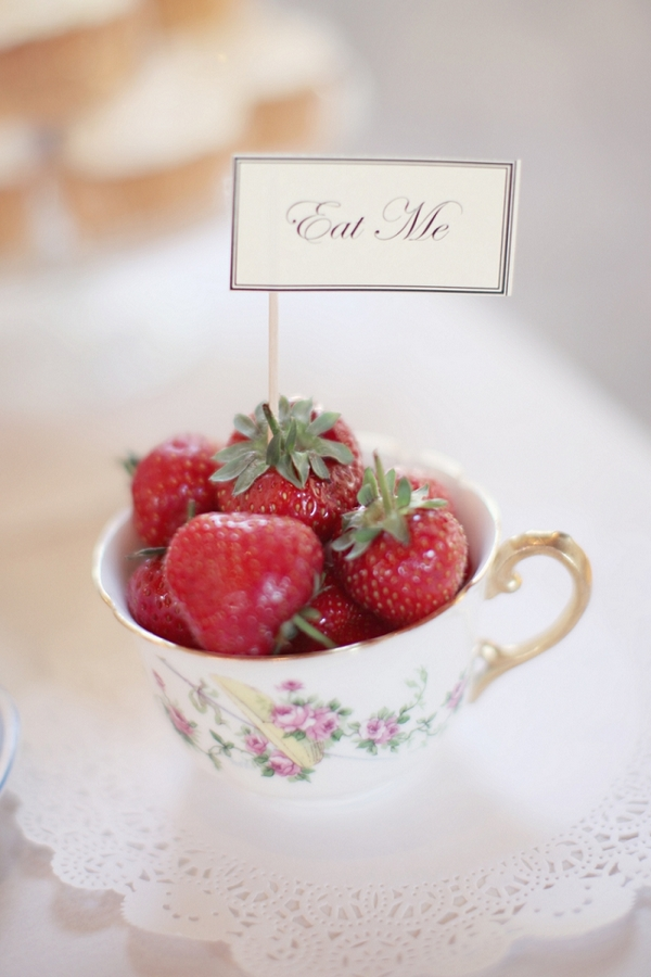 Teacup of strawberries