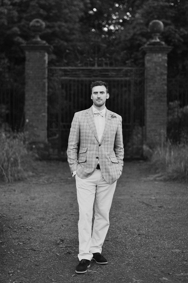 Black and white picture of vintage groom