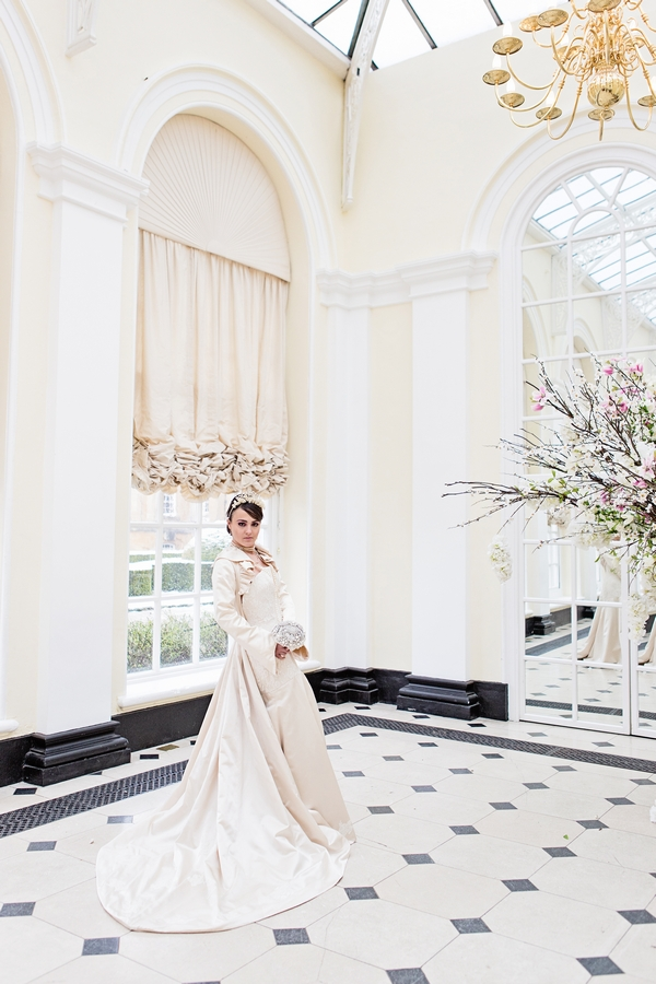Bride standing in Blenheim Palace