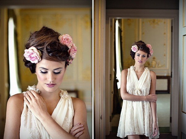 Bride with messy updo with flowers