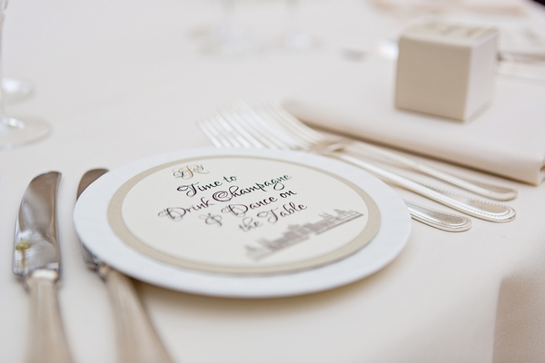 Wedding plate on table