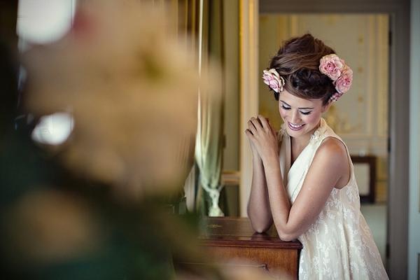 Flowers in hair bridal updo