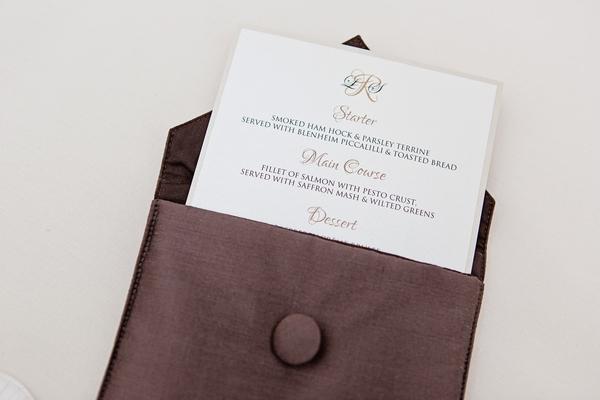 Wedding menu in brown case