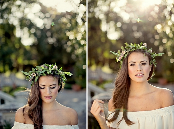 Bride with hair down and flower crown