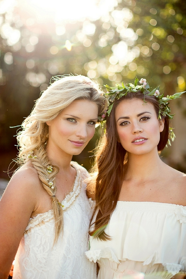 Bride with fishtail braid and bride with flower crown