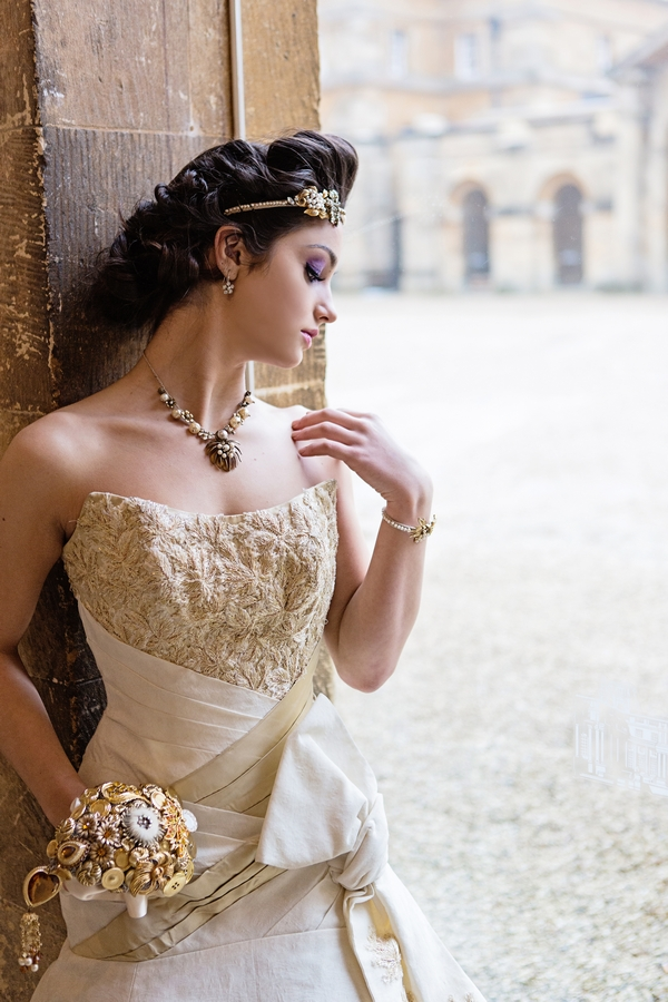Bride with gold detailed wedding dress