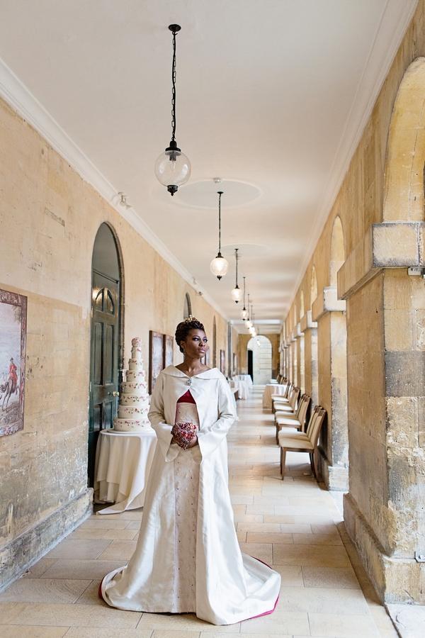Bride standing in corridor