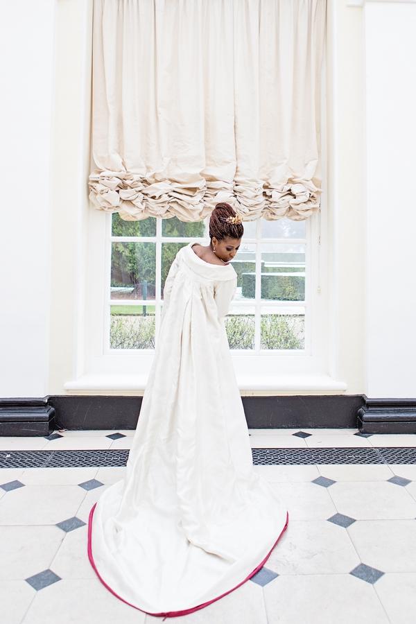 Back of bride's long wedding coat