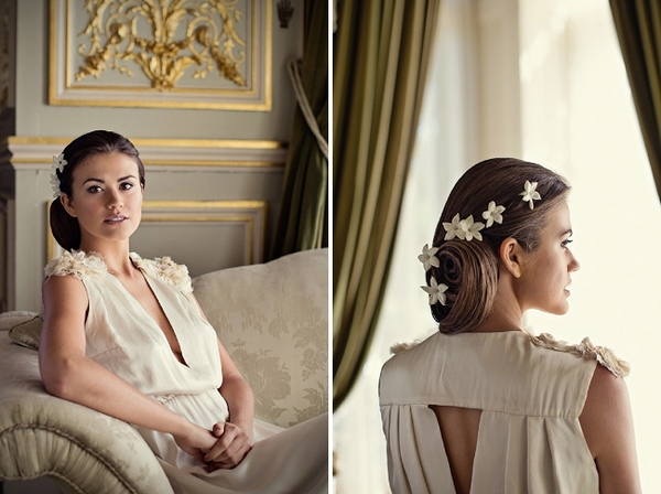 Low bun hairstyle with flowers