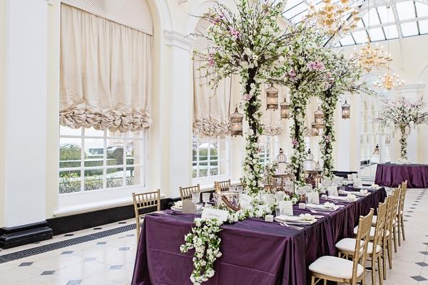 Purple themed wedding table