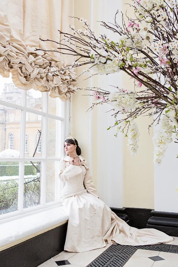 Bride stting on windowsill