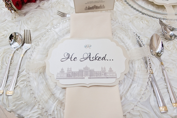 Wedding place setting with 'He Asked'