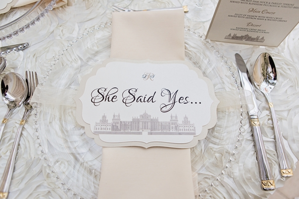 Wedding place setting with 'She Said Yes'