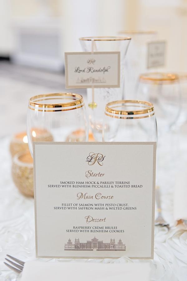Wedding menu and glasses