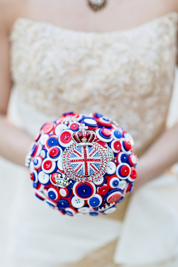 Red, white and blue brooch bouquet