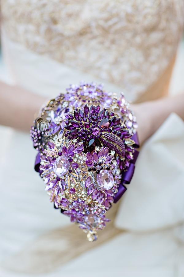 Purple brooch bouquet