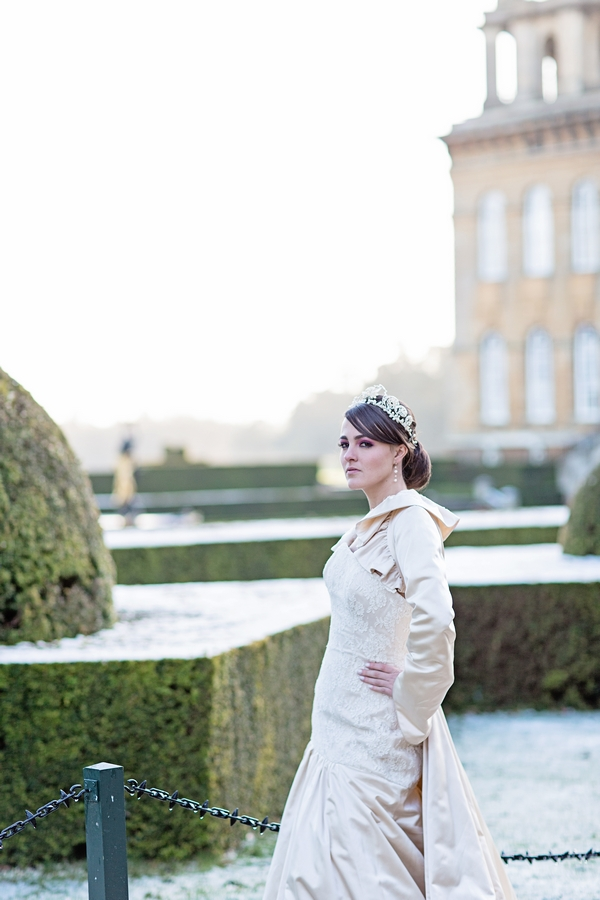 Bride in grounds of Blenheim Palace