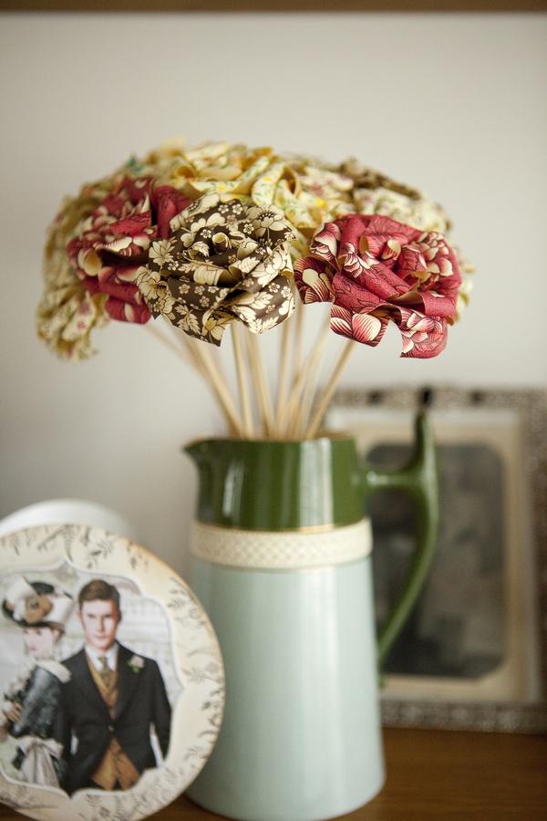 Paper bouquet in jug