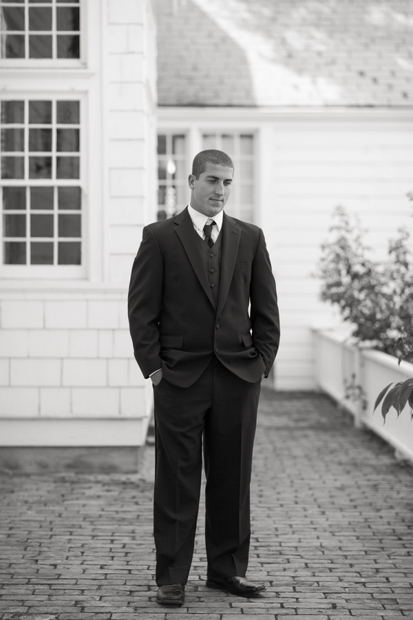 Black and white picture of groom