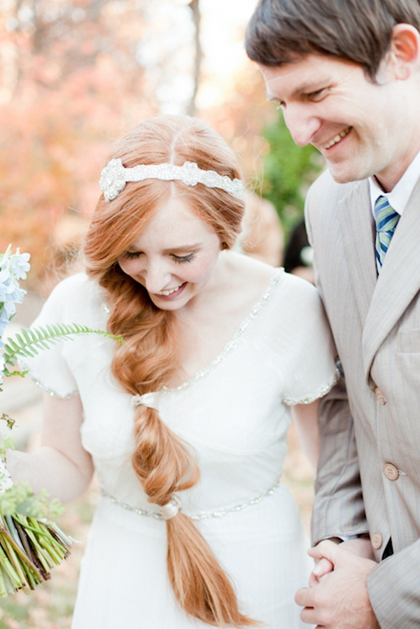 Bride with long red hair