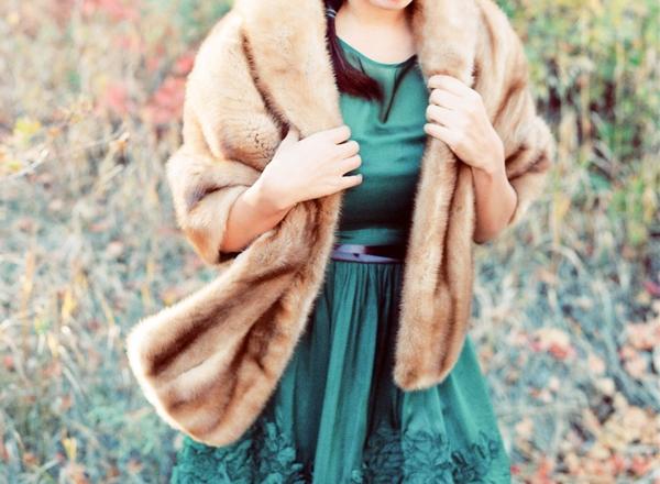 Bridesmaid in fur coat