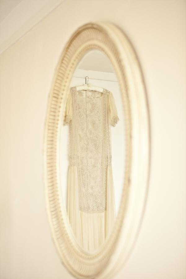 Vintage wedding dress in mirror