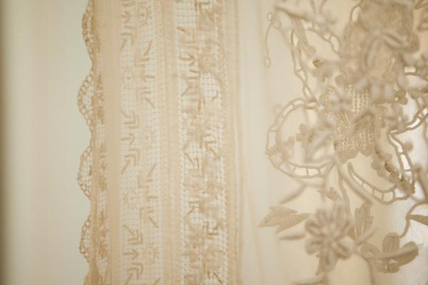 Detail on vintage wedding dress
