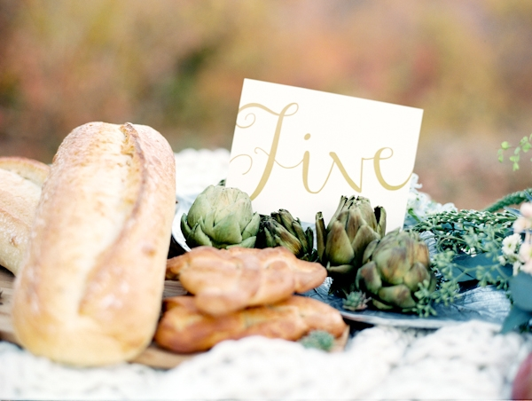 Wedding table number with bread