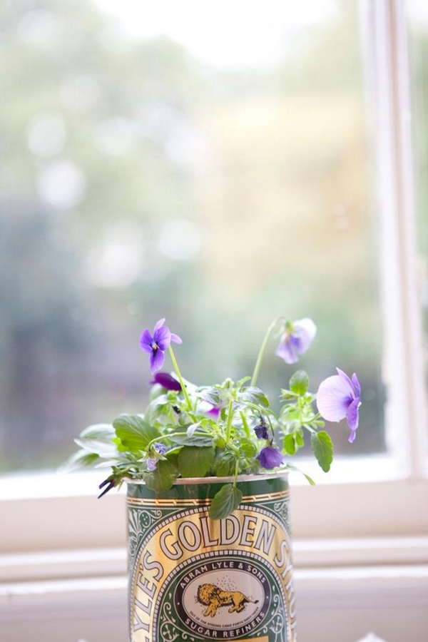 Flowers in Golden Syrup tin