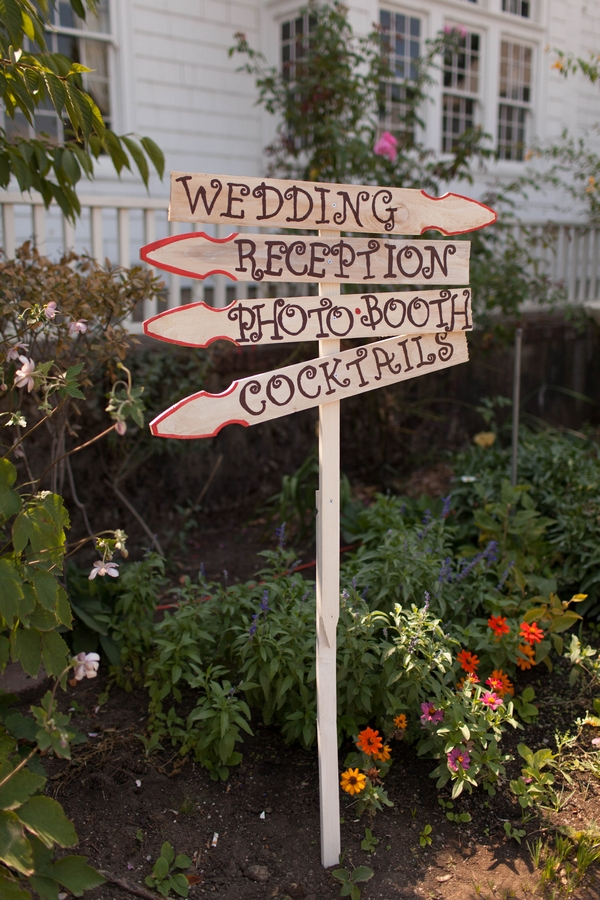Wooden wedding arrow signs