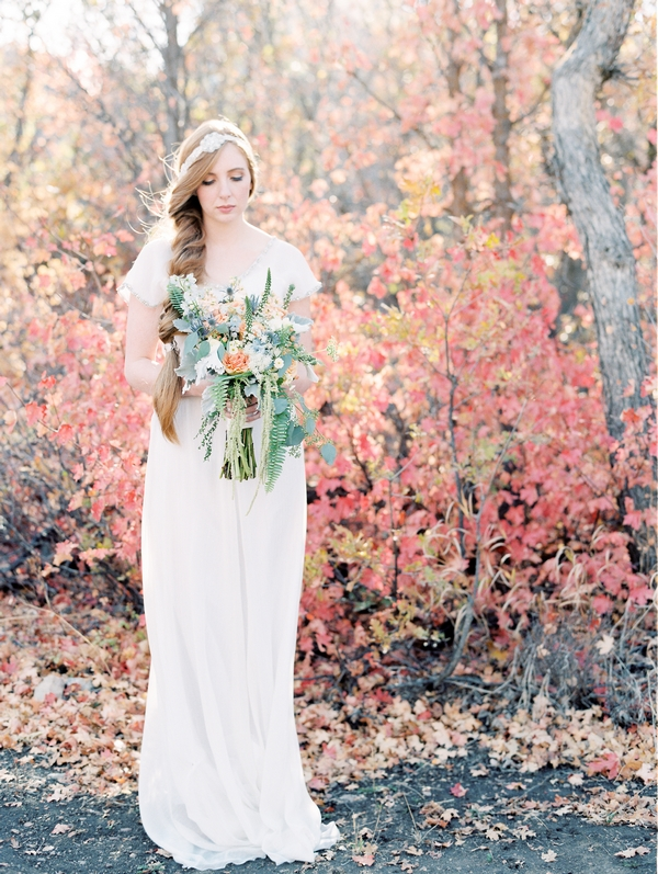 Bride holding Scottish style bouquet