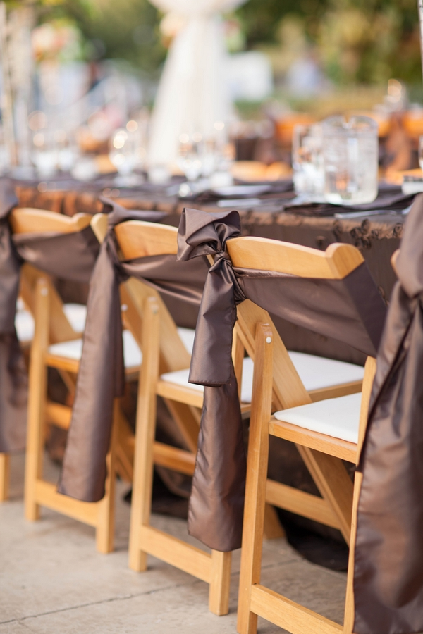 Chairs with brown sashes