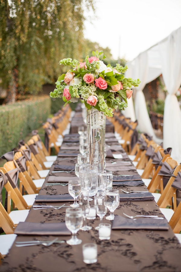 Banquet style wedding table