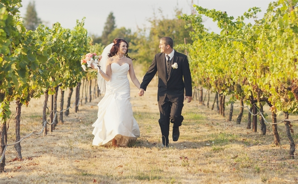 Bride and groom at Eden Valley Orchards
