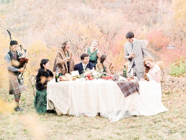 Scottish style wedding table outdoors