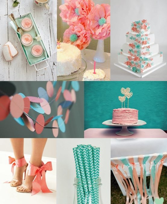 Teal and Coral Wedding Styling