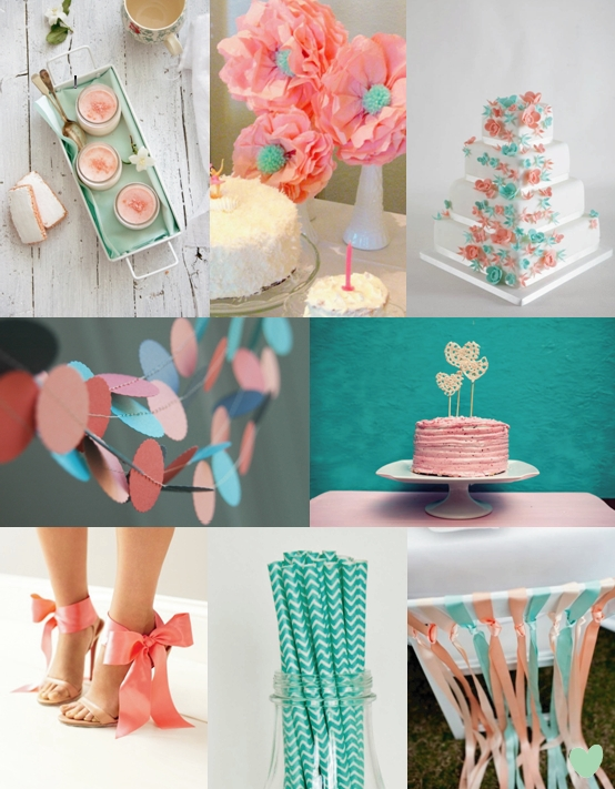 Teal and Coral Wedding Styling Mood Board